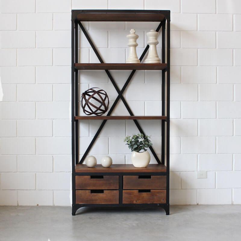 Estanteria 4 cajones hierro y madera estacion ortiz - Estanterias modulares de madera ...